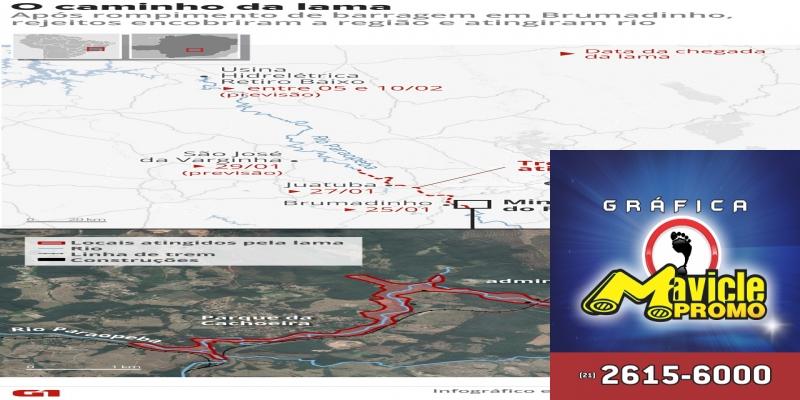 Caminho da lama: veja por onde passaram os rejeitos da barragem rompida em Brumadinho (MG)  — Foto: Betta Jaworski e Alexandre Mauro/G1
